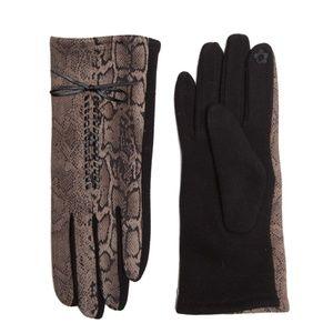 Grey Black Snakeskin print Touchscreen Gloves